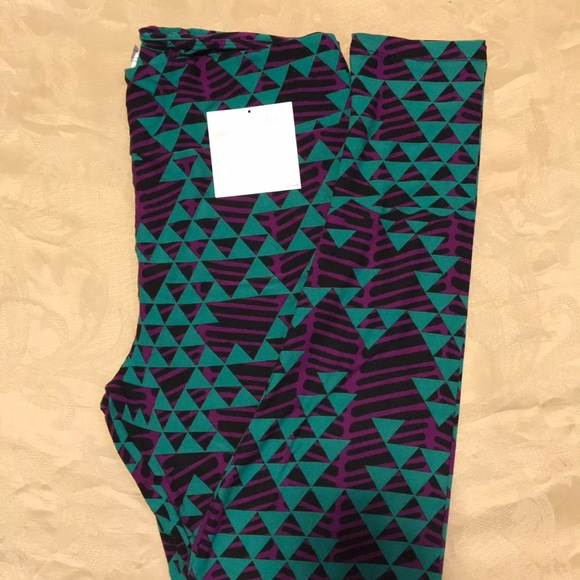 d6204ba8e5ad60 LuLaRoe Pants | Leggings Purple And Green Multi Design Tc | Poshmark